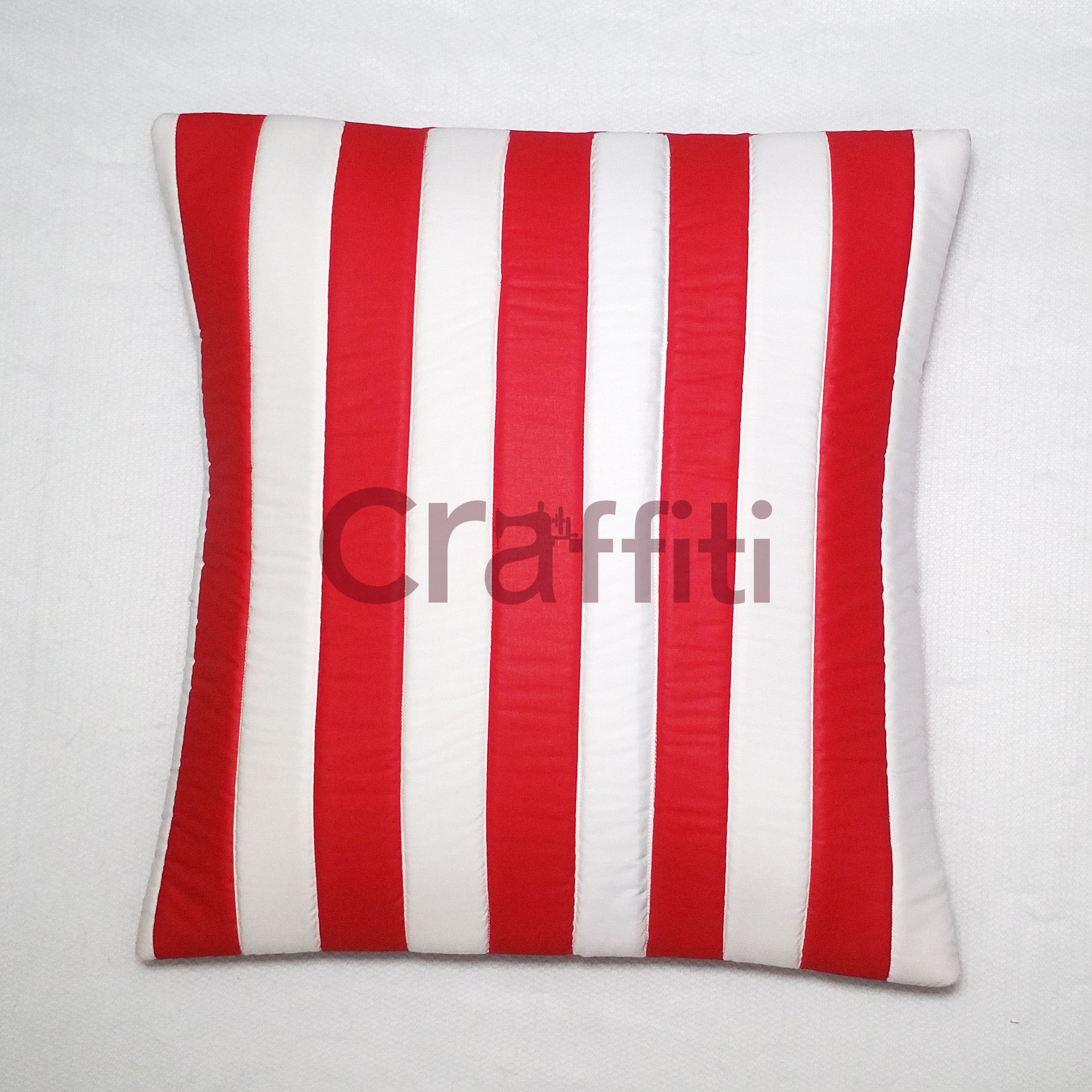 Cushion Cover - Red White Line