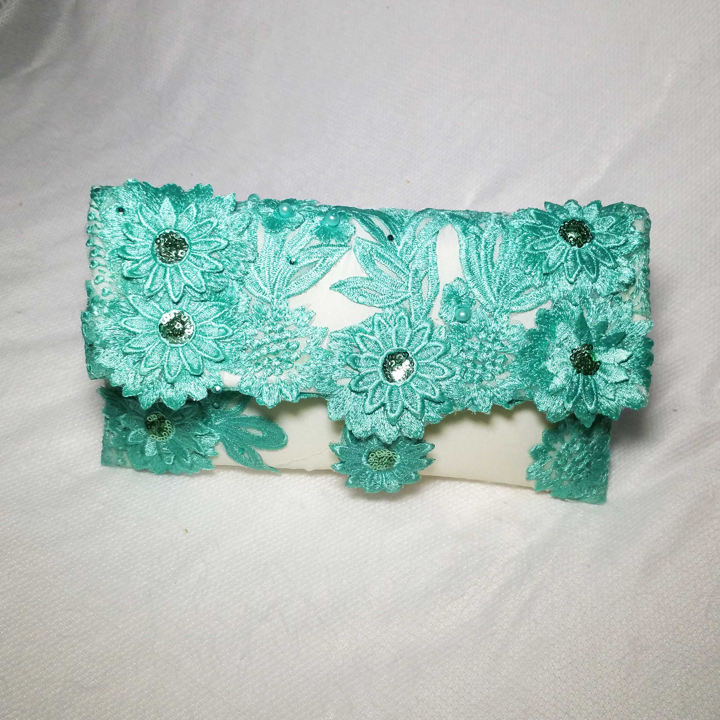 Green Brocade Clutch Handbag