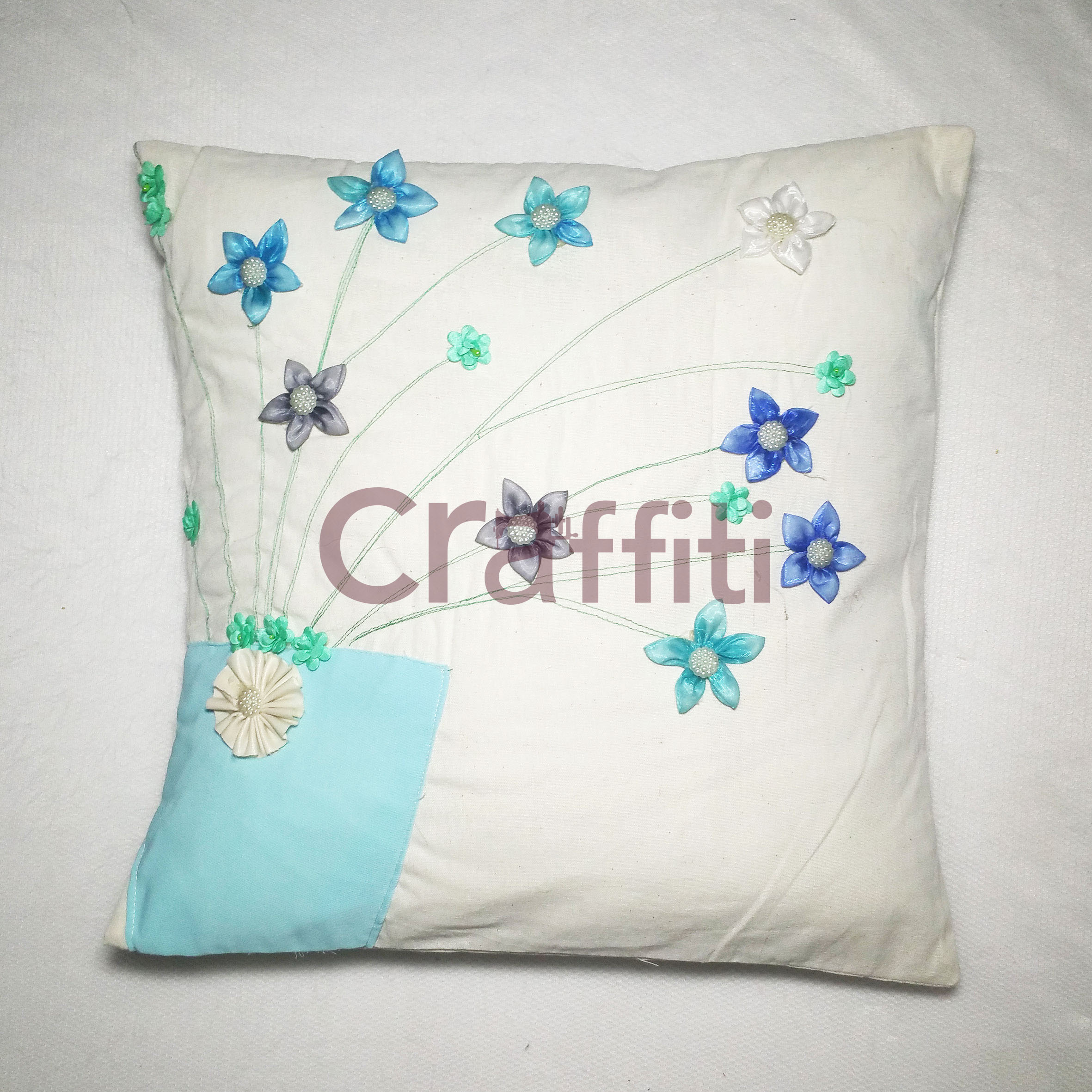 Lovely Pink, Blue & Yellow Cushion Cover