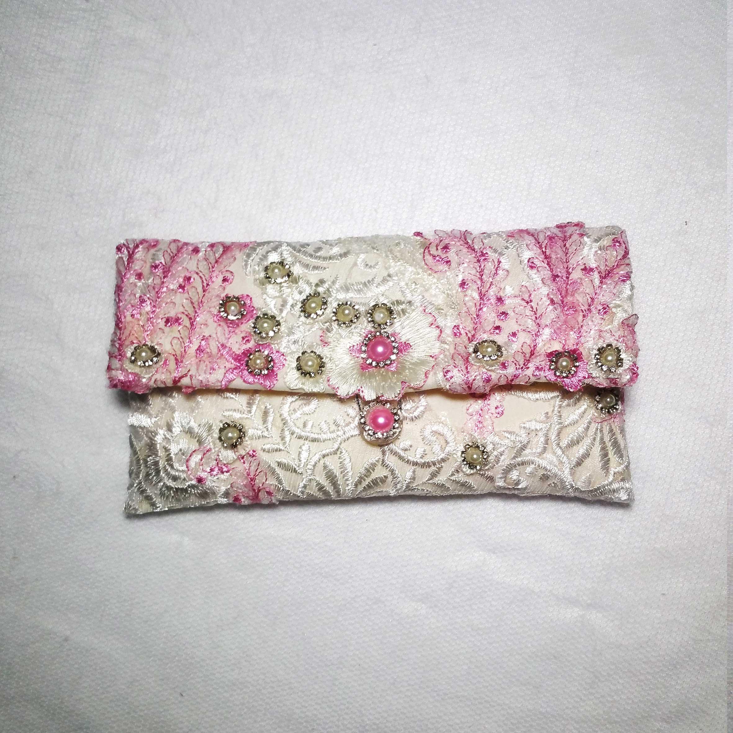 Pink Brocade With Pearl Clutch Handbag