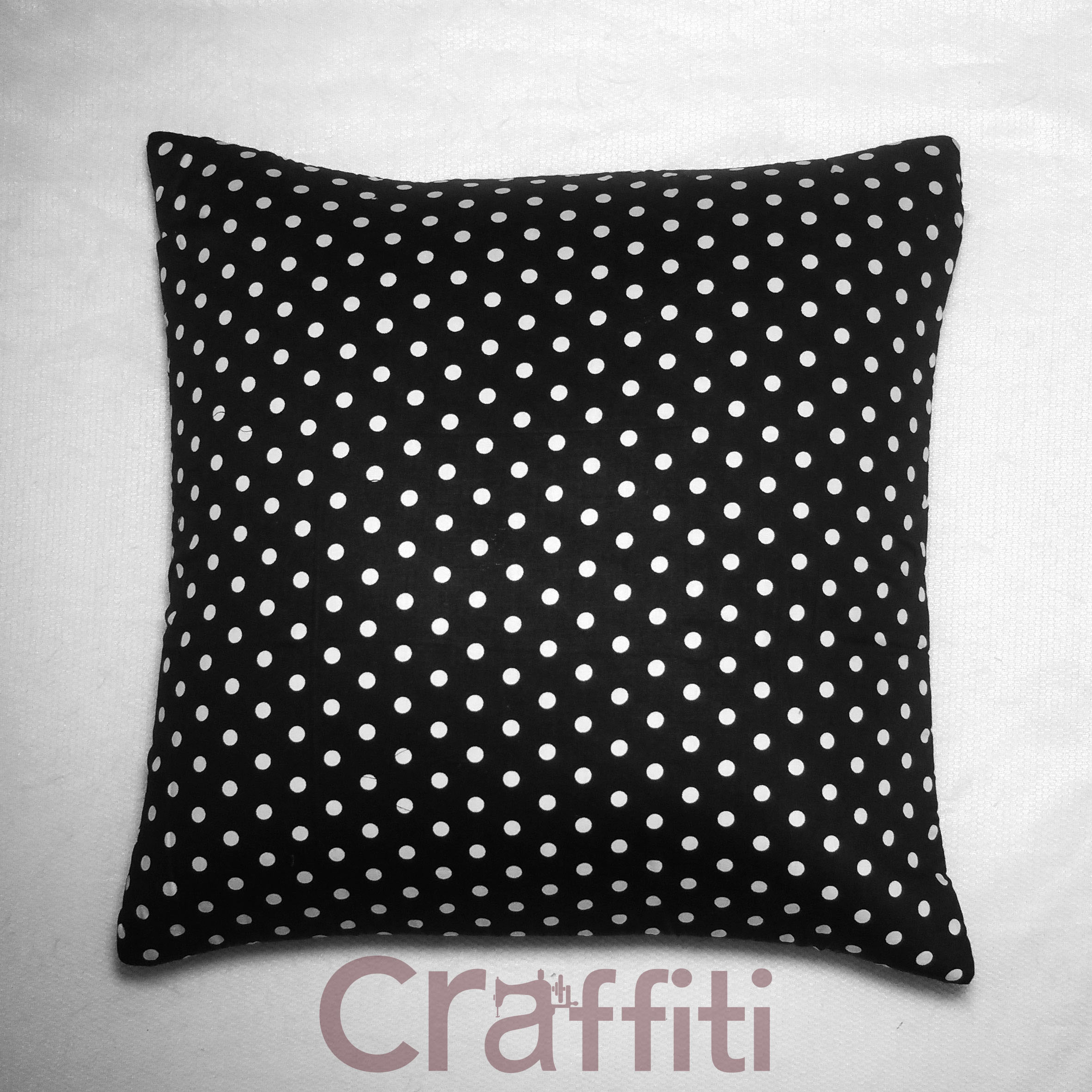 Small Black Polkadot - Cushion Cover