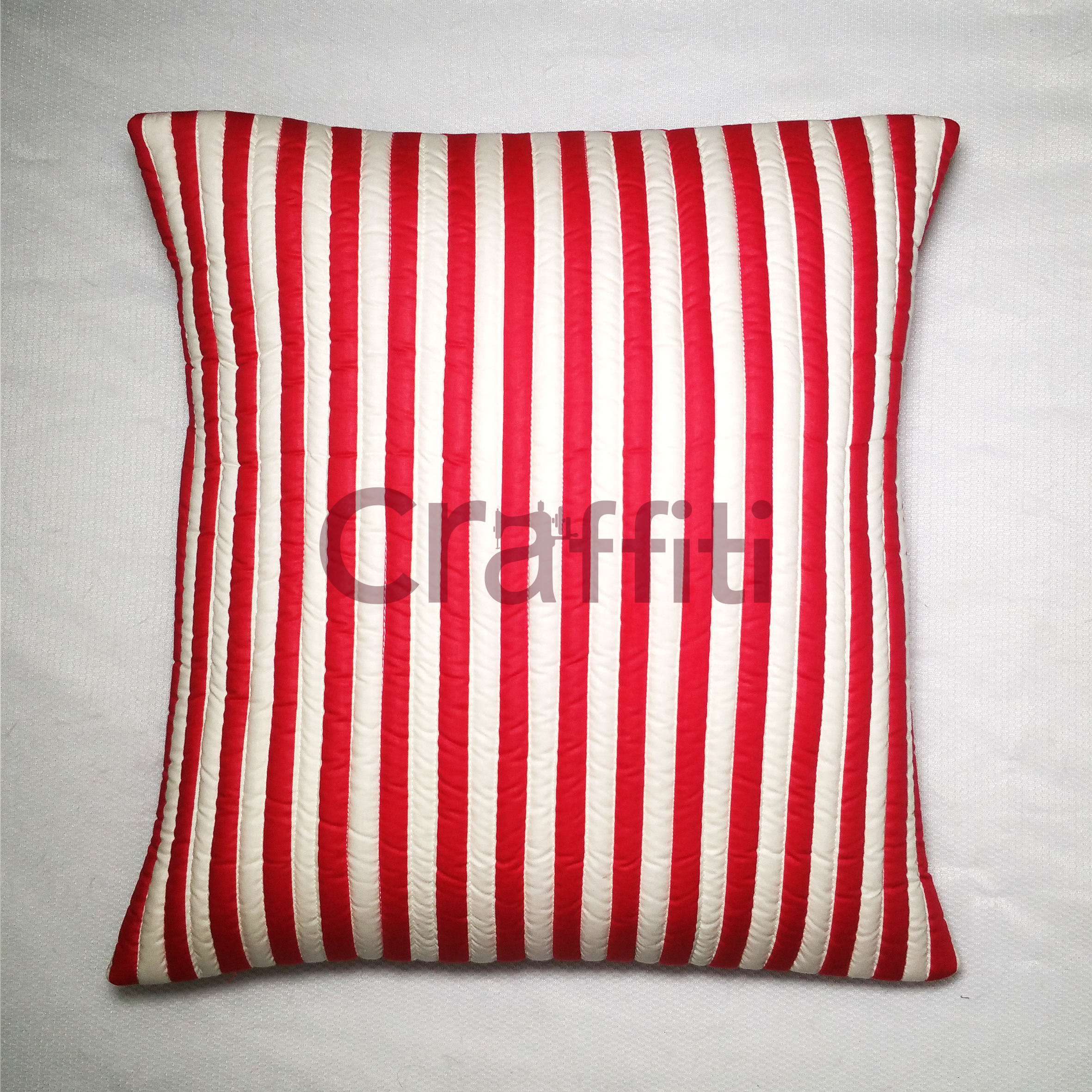 Small Red White Line - Cushion Cover