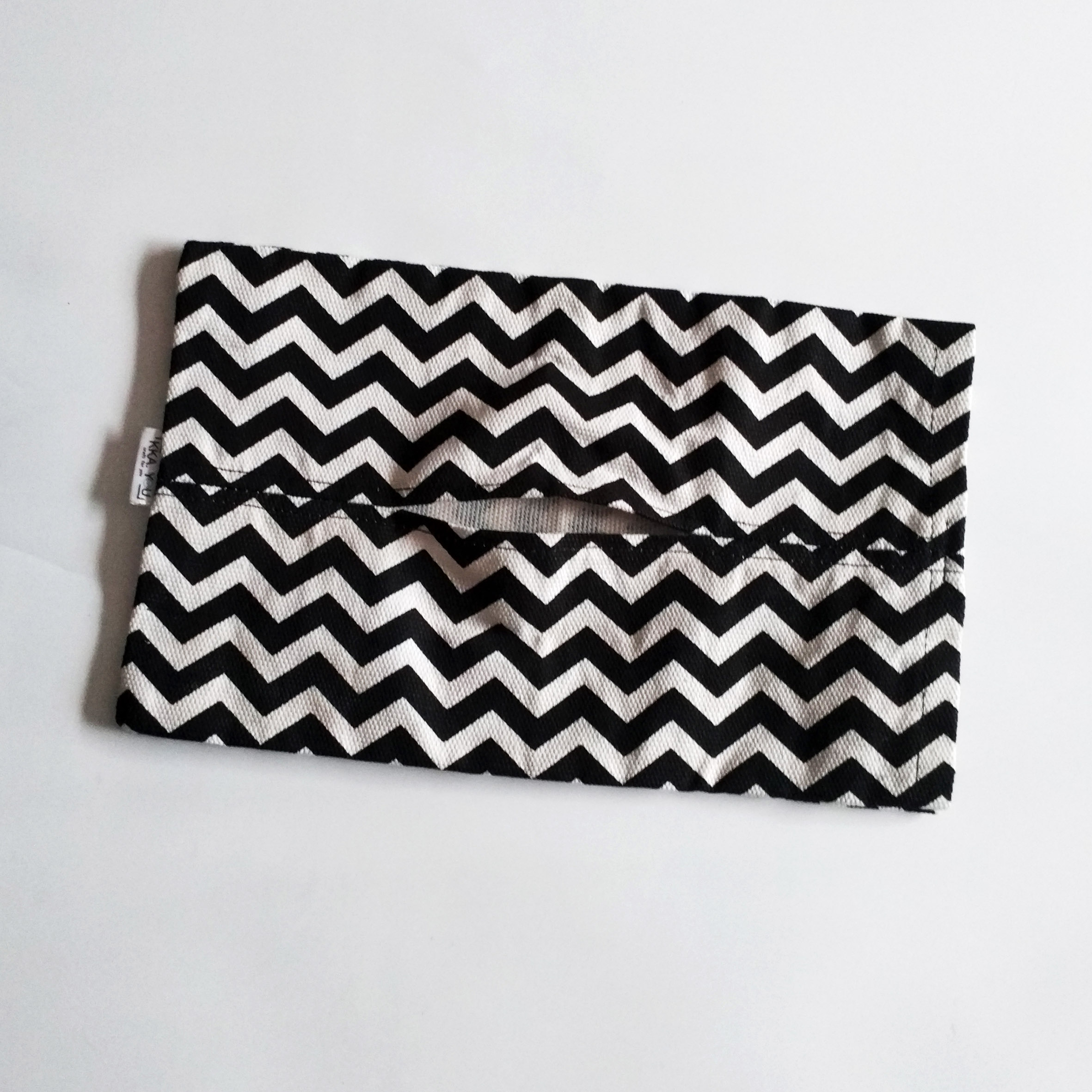 Travel Tissue Pouch - Black Chevron