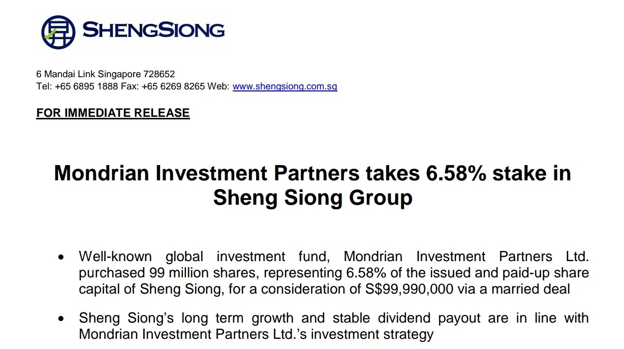 sheng siong investment research Sheng siong – attractive entry point on sell-down analysts: lim siyi and eric teo ocbc investment research has upgraded sheng siong to a 'buy' with the same fair value estimate of 49 cents per share.