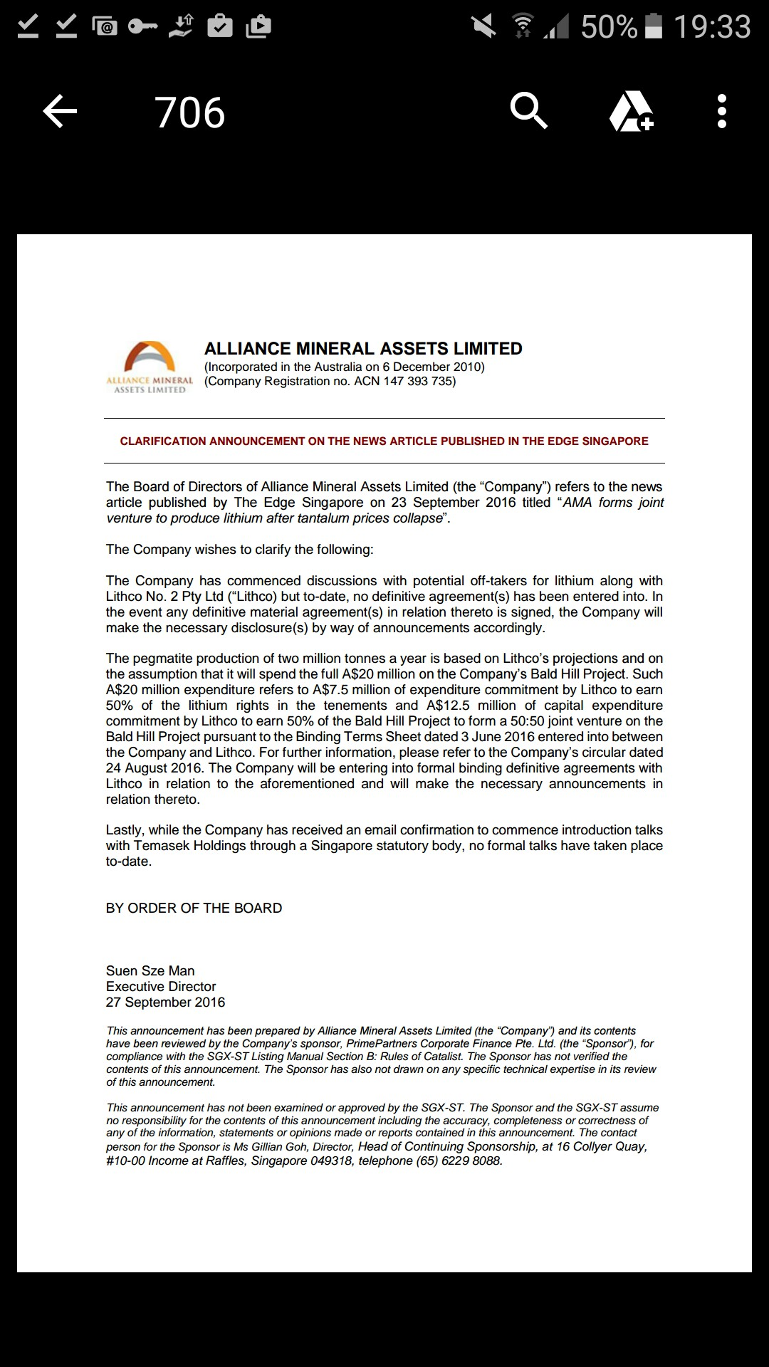 Micklimsowch Alliance Mineral 40f Singapore Listed Miner Alliance