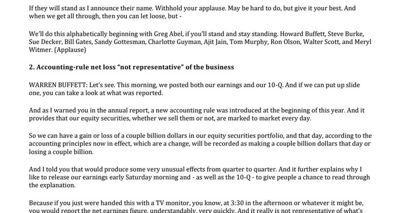 2018-1994 Berkshire Shareholder Meeting Transcript