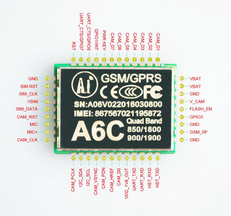 Pinout-module-gsm-gps-a6c