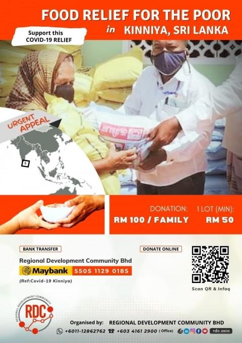 COVID-19: FOOD RELIEF TO SUPPORT PEOPLE IN KINNIYA, SRI LANKA
