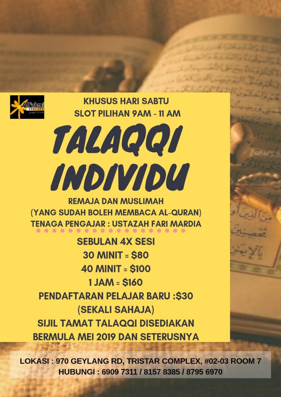 TALAQQI INDIVIDU REMAJA DAN MUSLIMAH (yang sudah boleh membaca) - setiap sabtu