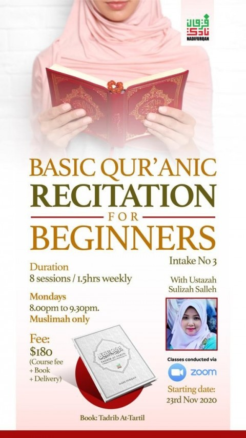 BASIC QUR'AN FOR BEGINNERS (MUSLIMAH ONLY) [3rd Intake]