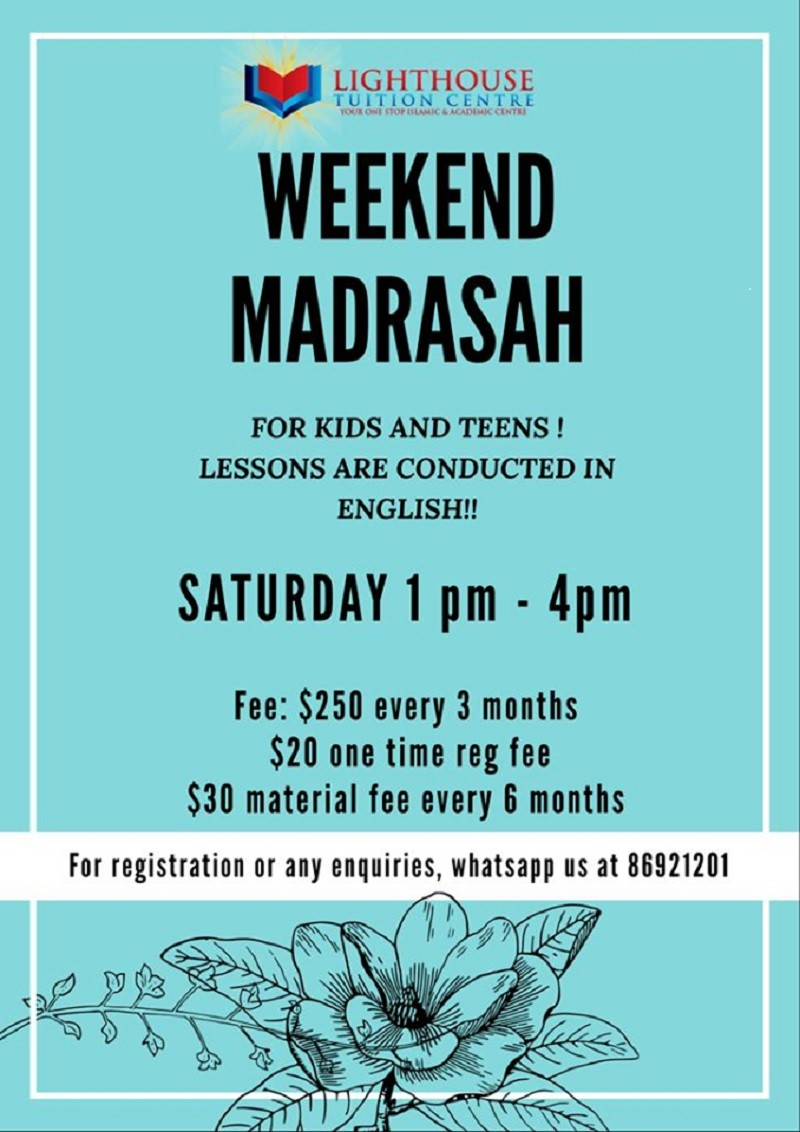 A Proven 3-hours Traditional system madrasah conducted in ENGLISH !!