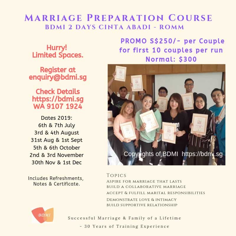 3 & 4 Aug '19  ~ Marriage Preparation Course for ROMM