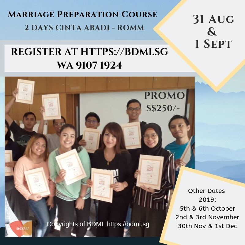 31 Aug & 1 Sept '19  ~ Marriage Preparation Course for ROMM