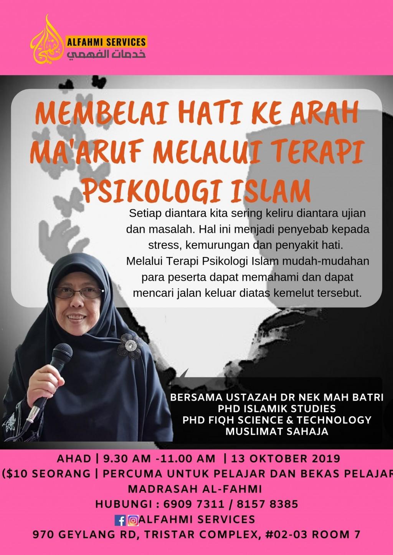 MEMBELAI HATI KE ARAH MA'ARUF MELALUI TERAPI PSIKOLOGI  ISLAM (Muslimah).