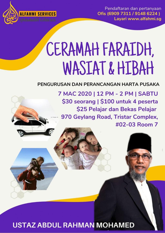 CERAMAH FARAIDH, WASIAT & HIBAH (Pengurusan dan Perancangan Harta Pusaka)