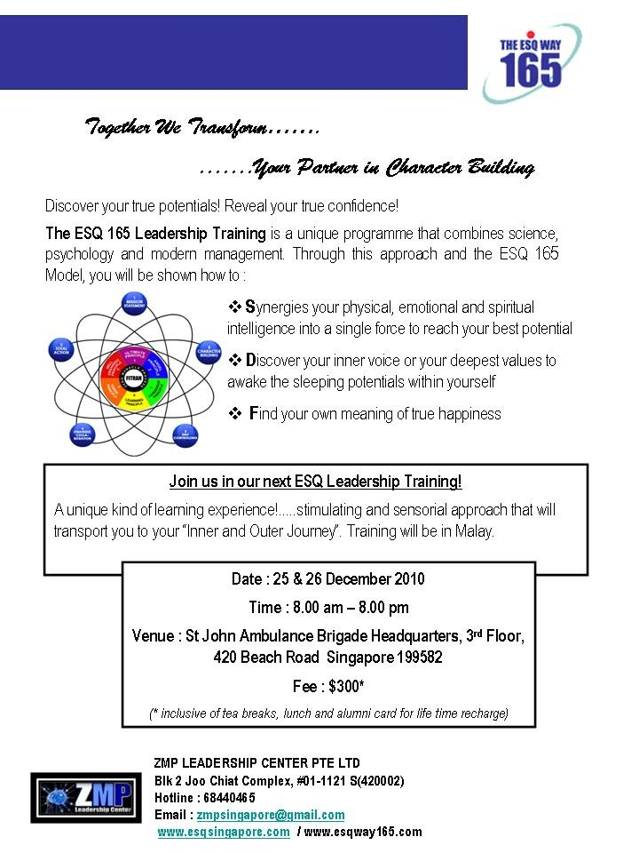 ESQ 165 Leadership Programme - Event - IslamicEvents SG