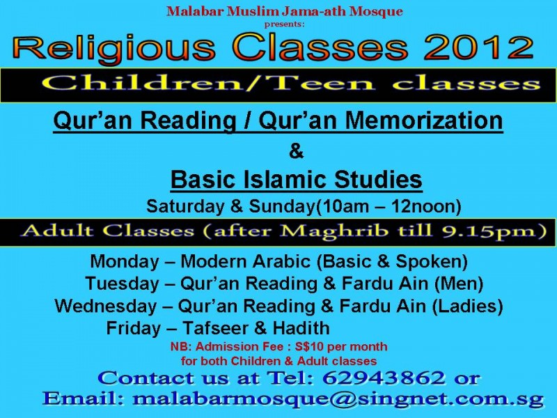 Religious Classes for Adults - Class - IslamicEvents SG