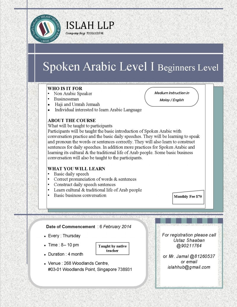 SPOKEN ARABIC LEVEL 1 Beginners - Event - IslamicEvents SG