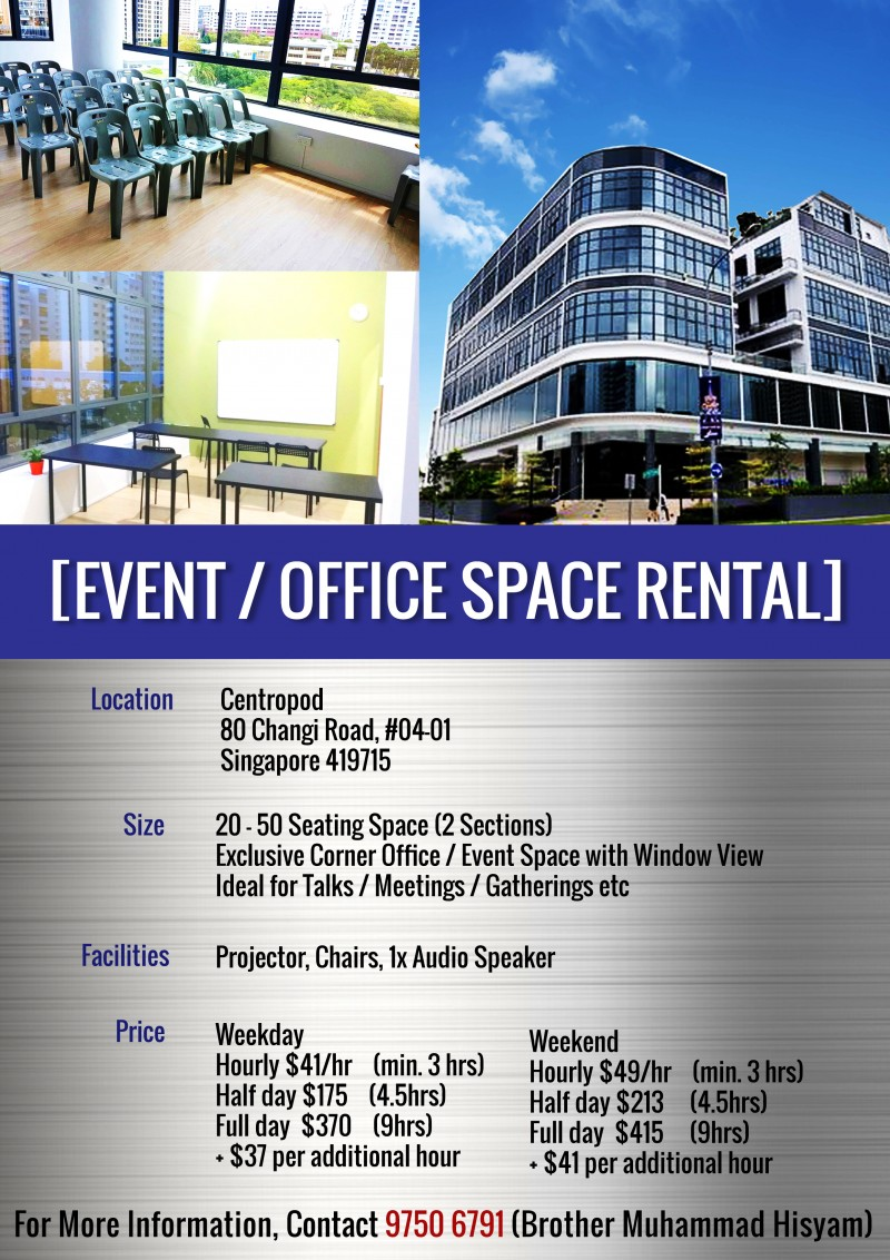 Event / Office Space Rental - Khidmah - IslamicEvents.SG
