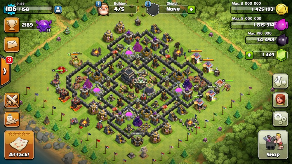 Jual Akun Supercell(COC Th9&Clash Royale Arena 7)