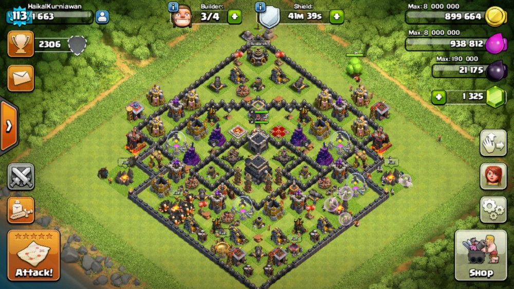 clash of clans th9 full up