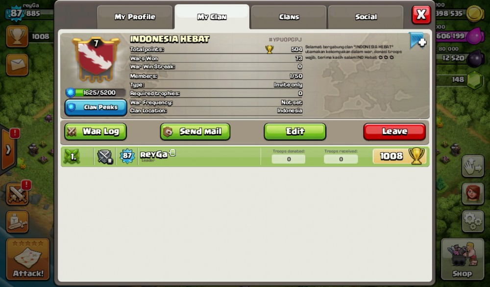Clan level 7 Nick INDONESIA HEBAT