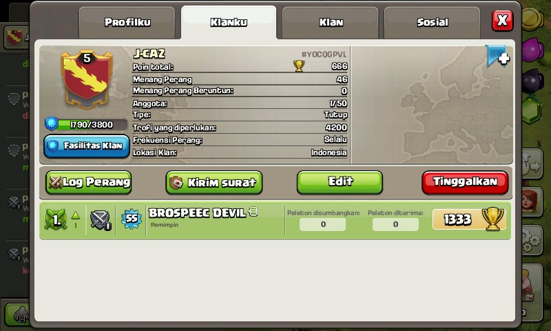 JUAL CLAN LEVEL COC 6