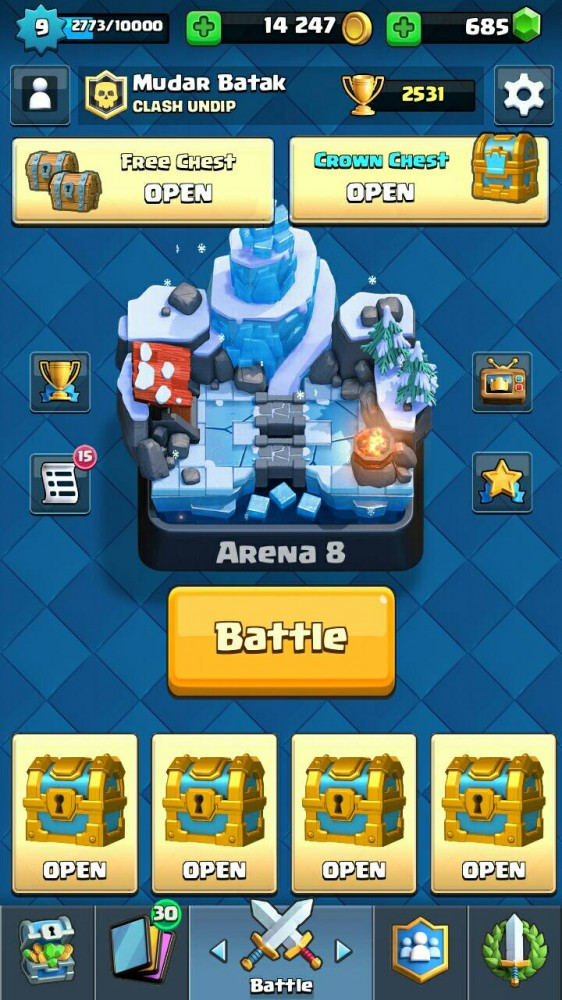 Jual ID Clash Royale Level 9 Arena 8, Legend 2