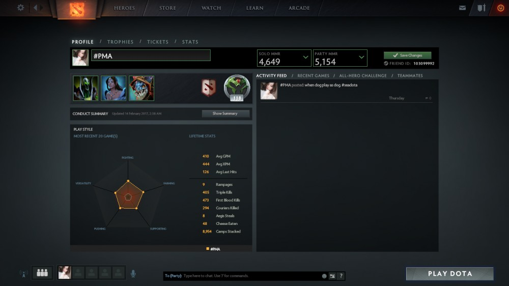 Solo mmr 4,6k Party mmr 5,1k, full inventory 300+