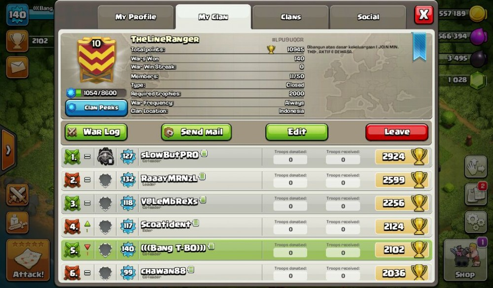 Clan Level 10 (TheLineRanger)