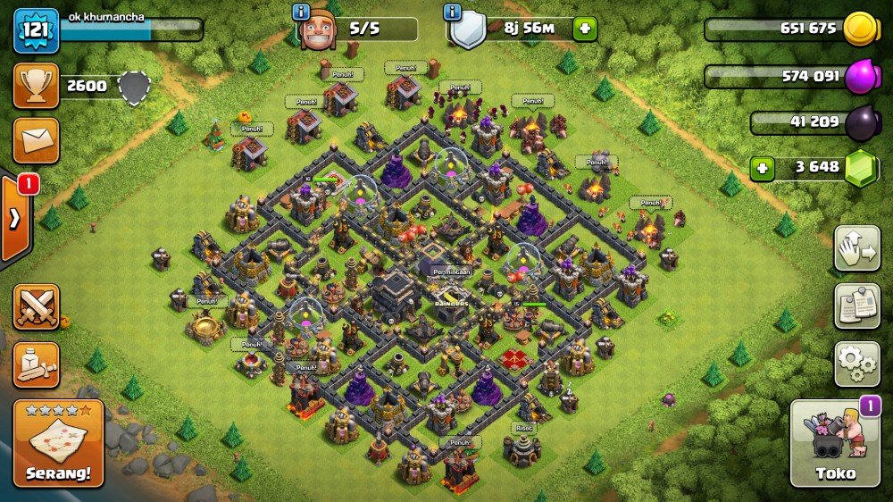 Full Max Town Hall 9 - CN Aktif - Wall Kuat