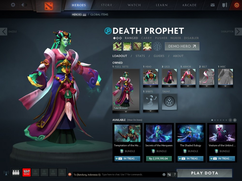 Jual Fatal Blossom (Death Prophet Set) game Dota 2 | itemku