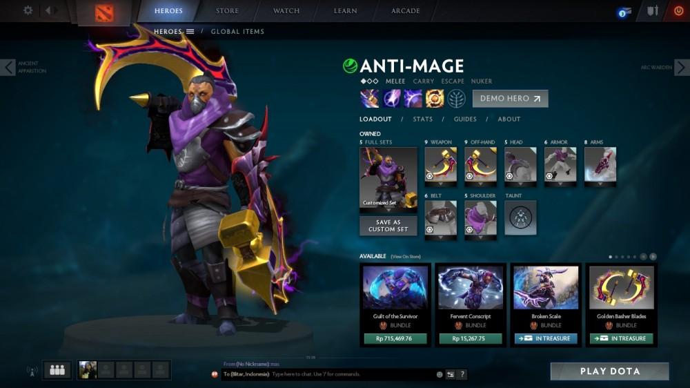 Golden Basher of Mage Skulls (Immortal Anti-Mage)