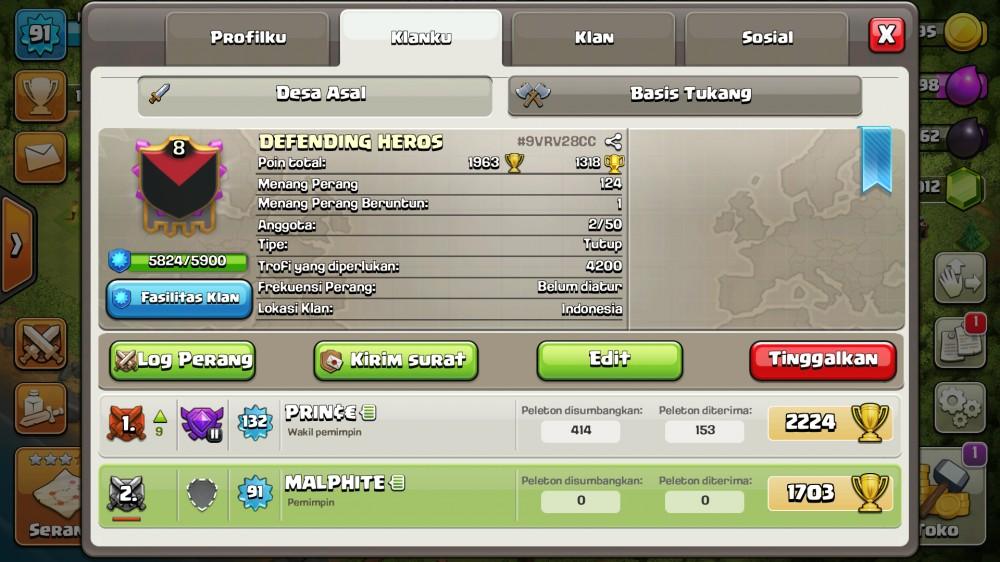 Clan lvl 8 Otw Lvl 9 + Nick Gagah !