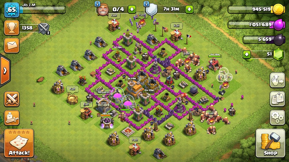 Clash Of Clans Th 7 Minus Wall Defense Max