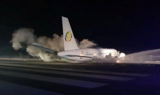 pesawat, pesawat fly jamaica tergelincir, fly jamaica, guyana,