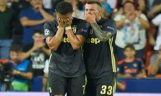 Liga Champions, Juventus, Valencia, Cristiano Ronaldo, Ronaldo nangis, Ronaldo kartu merah
