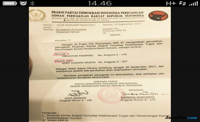 Surat dari Fraksi PDI-P perihal pencopotan Masinton Pasaribu dari Wakil Pimpinan Pansus Hak Angket KPK