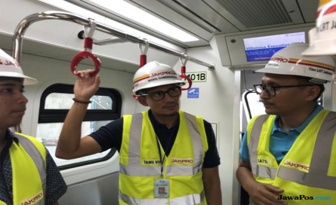 Uji Coba Kereta LRT, Sandiaga Pastikan Kecepatan Tembus 80 Km Per Jam