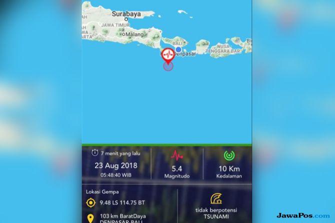 Bali Diguncang Gempa 5,4 SR
