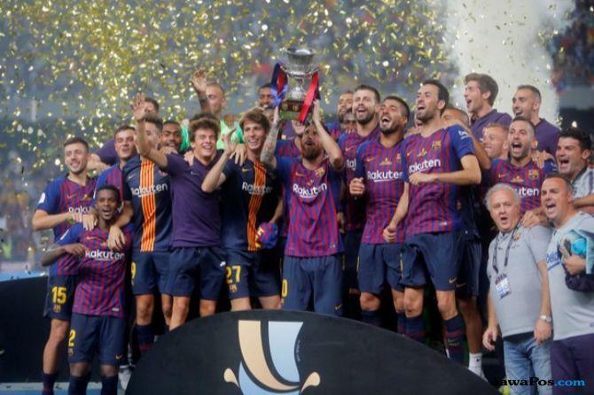Piala Super Spanyol 2018, Supercopa de Espana, Barcelona, Sevilla, Sevilla 1-2 Barcelona