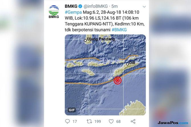 Gempa Guncang Kupang dengan Kekuatan 6,2 SR dan 5,8 SR
