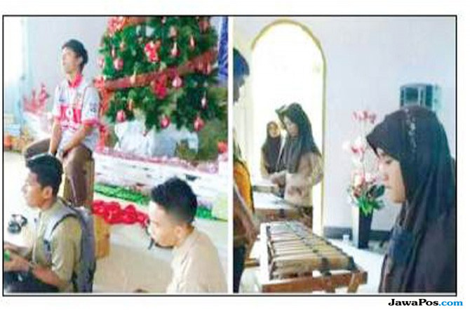Heboh Foto Siswi Berjilbab di Sebuah Ibadah Natal