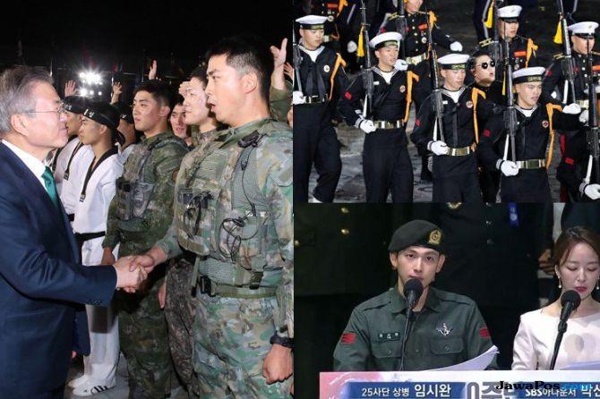Jadi Tentara, Taecyeon 2PM dan Siwan ZE:A Unjuk Kebolehan ke Presiden
