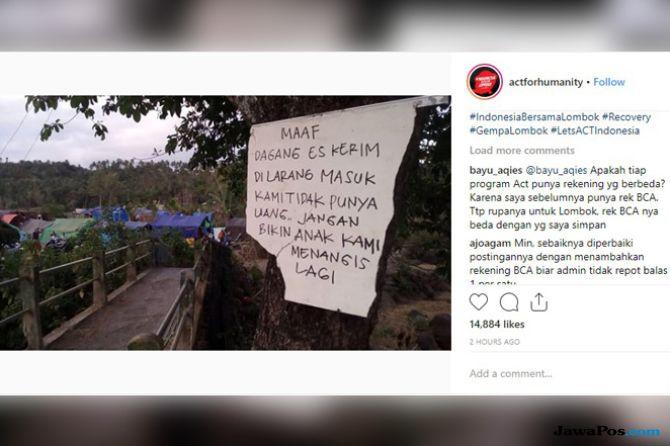 Jeritan Pengungsi Gempa Lombok: Jangan Bikin Anak Kami Menangis
