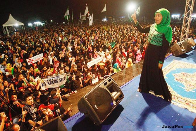 Khofifah Dzikir dan Sholawat Bersama Muslimat NU Ngawi