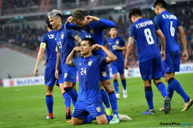Timnas Thailand saat mengalahkan timnas Indonesia dengan skor 4-2