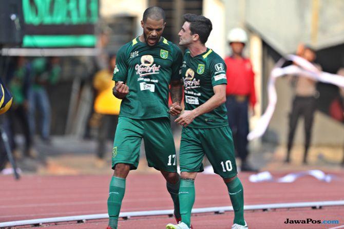 Hasil Persebaya vs Persela, Persebaya 3-1 Persela, Persebaya Surabaya, Persela Lamongan, David da Silva, Bejo Sugiantoro, Liga 1 2018