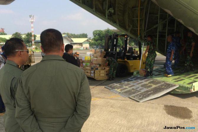 Terus Mengalir, Hercules Bawa Bantuan Logistik dari Medan ke Palu