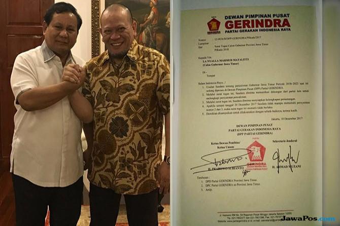 Waktu Habis, La Nyalla Kembalikan Mandat Bacagub ke Prabowo Subianto